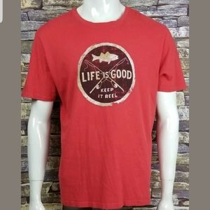 Life is Good Red Smooth Classic Fit T-Shirt